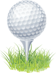 Golf ball on tee with grass