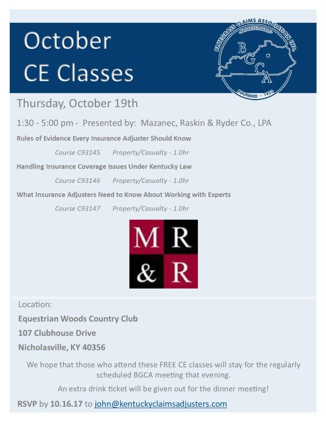 October CE Class