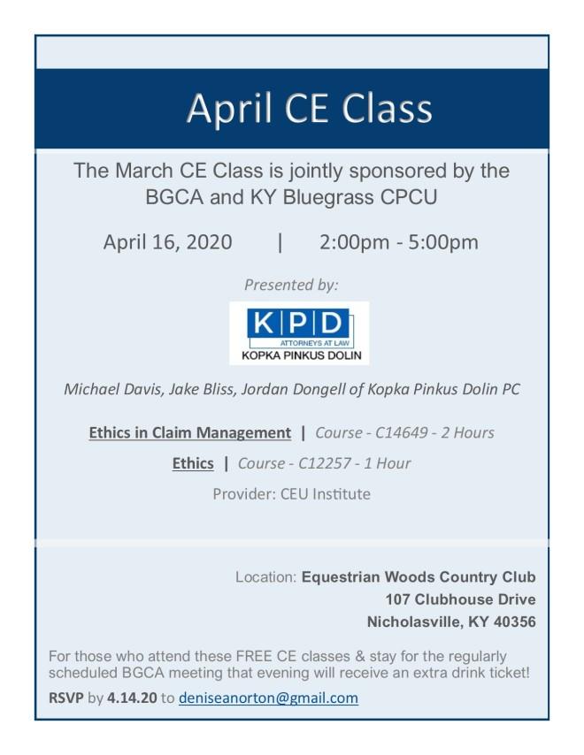 April CE Class