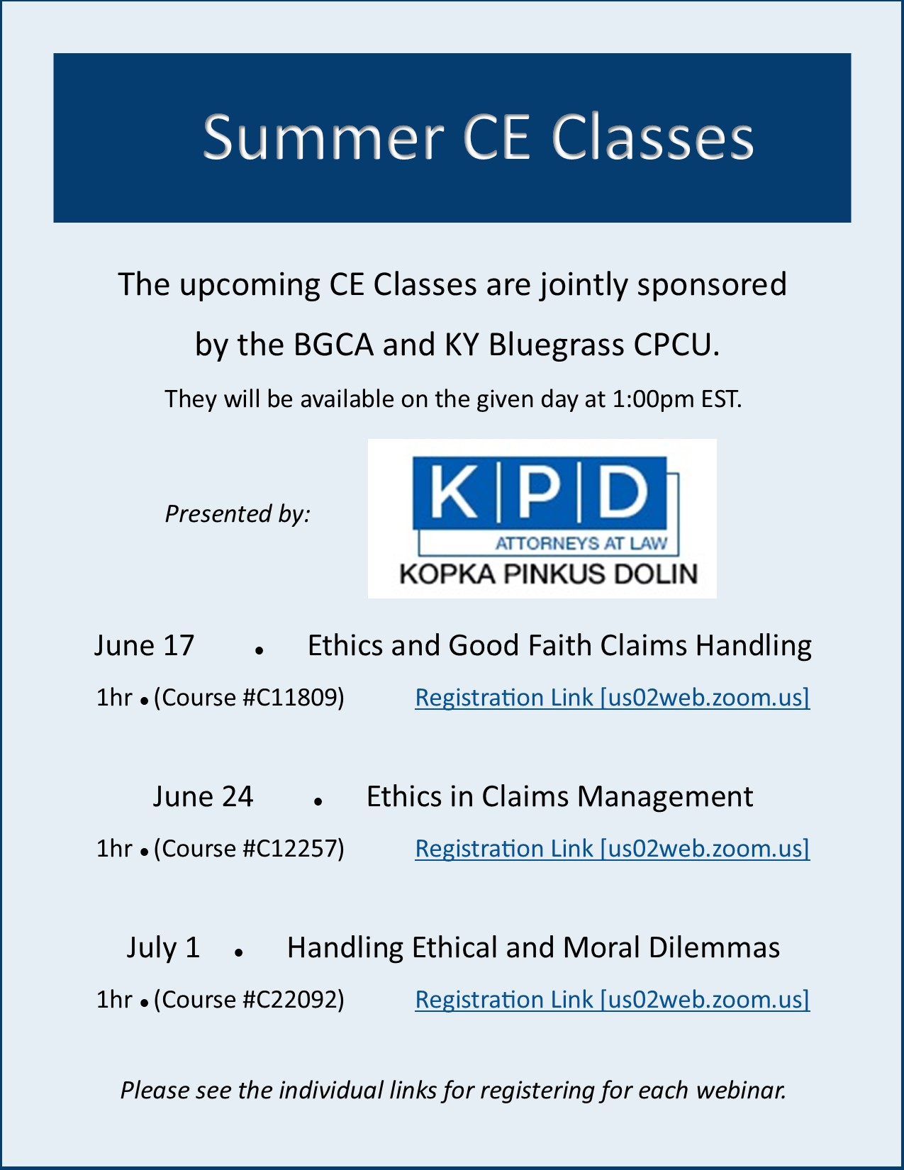 Summer CE Classes Flyer